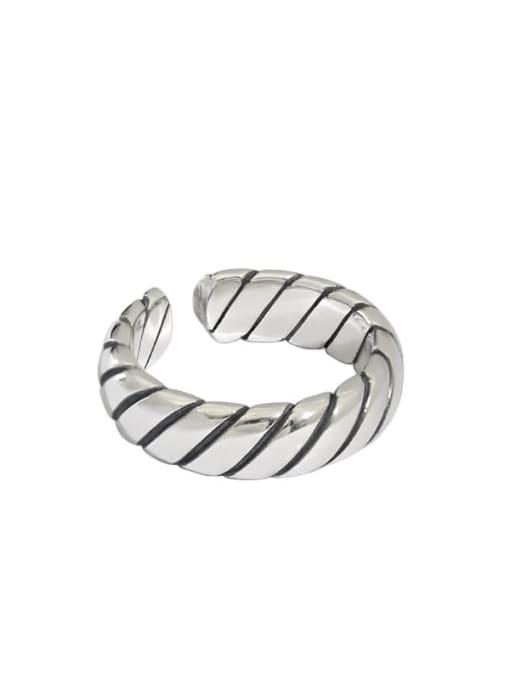 Retro silver [14 adjustable] 925 Sterling Silver Irregular Vintage Band Ring